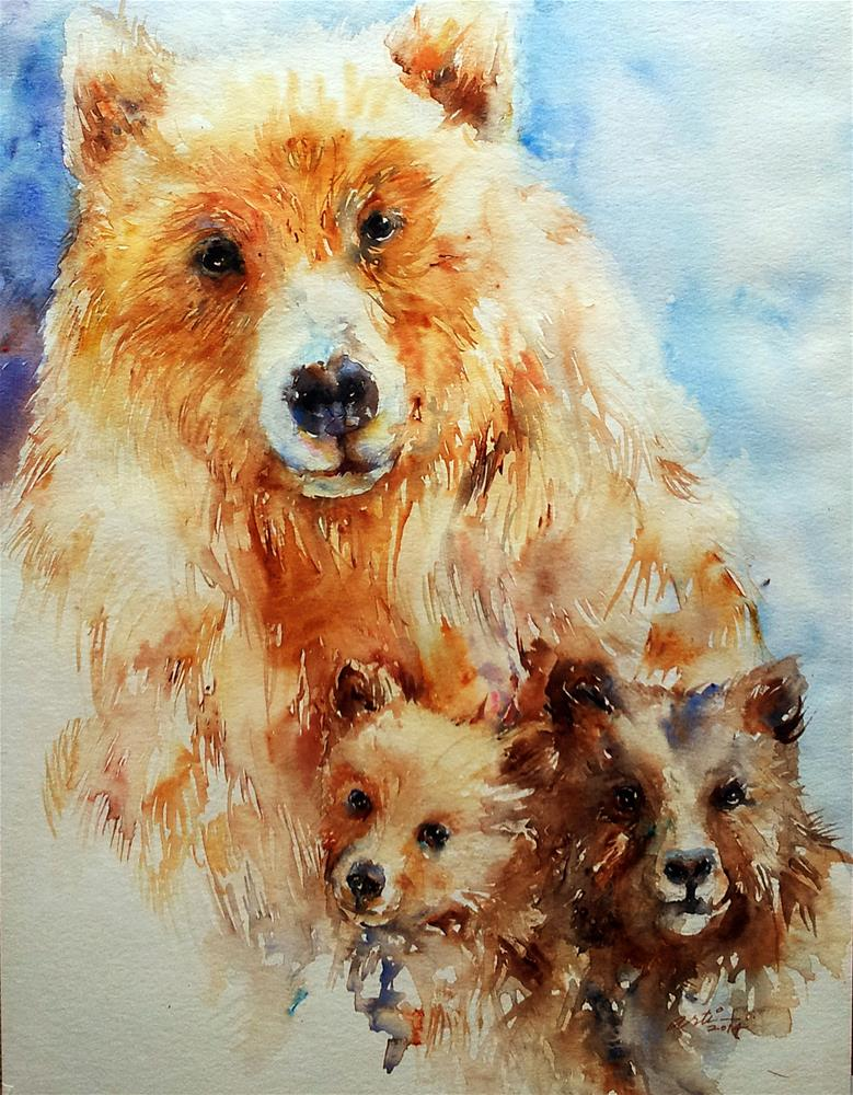 """Mama Bear with Cubs"" original fine art by Arti Chauhan"