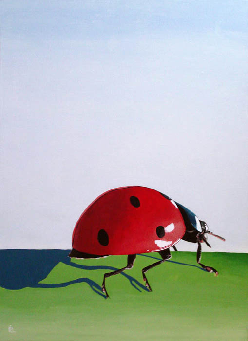 The Long Journey - ladybug painting original fine art by Ria Hills