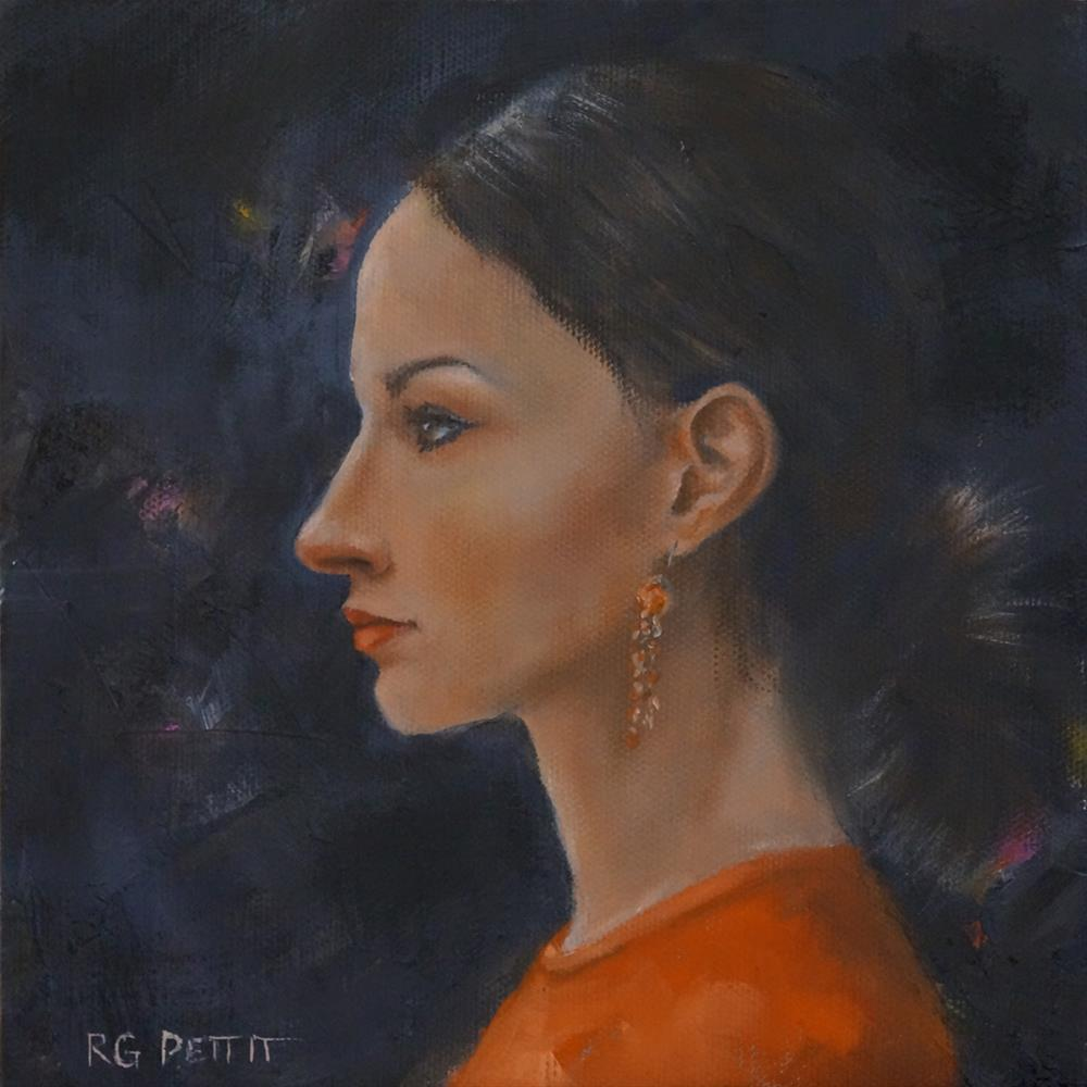 """Sasha in orange"" original fine art by Rhea  Groepper Pettit"