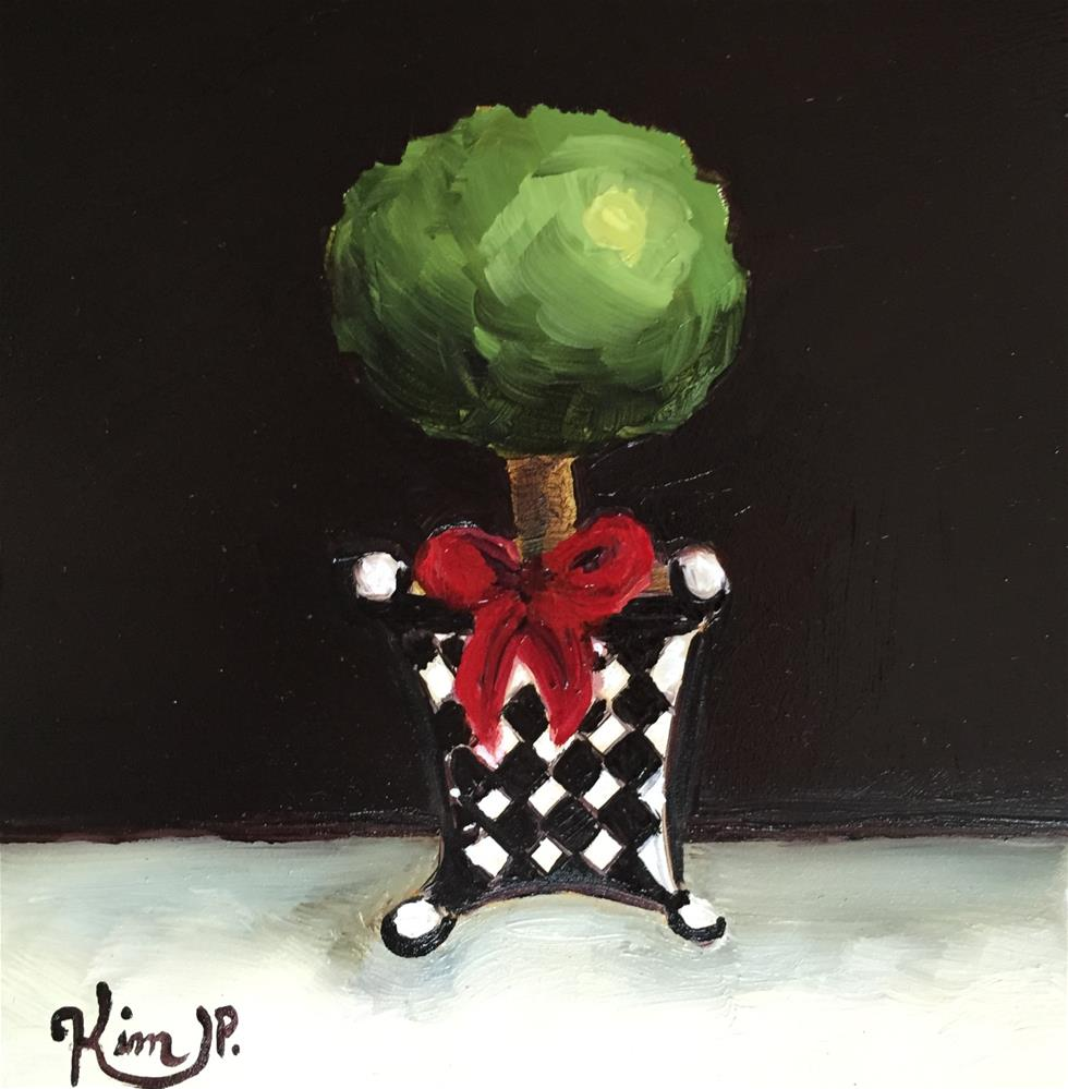 """Mini Topiary in Black and White with Red Bow"" original fine art by Kim Peterson"