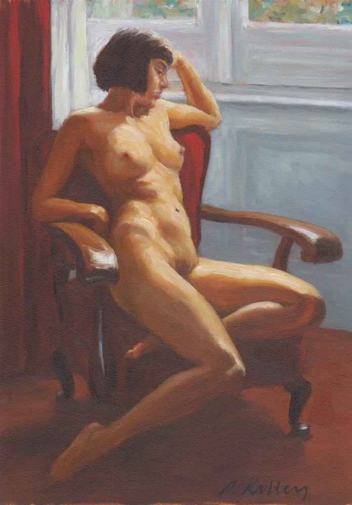 """Nude in a Red Chair"" original fine art by Pat Kelley"