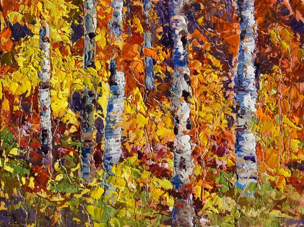 """Autumn Explosion Palette Knife painting"" original fine art by Marion Hedger"