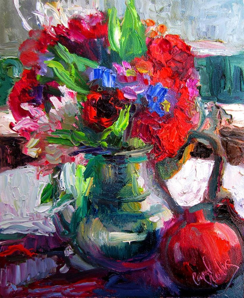 """Red Roses in Tea Kettle on a Gray Winter Day"" original fine art by Carol Steinberg"