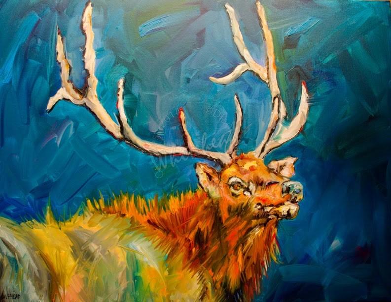 """ARTOUTWEST ELK ANIMAL ART WILDLIFE OIL PAINTING ORIGINAL"" original fine art by Diane Whitehead"