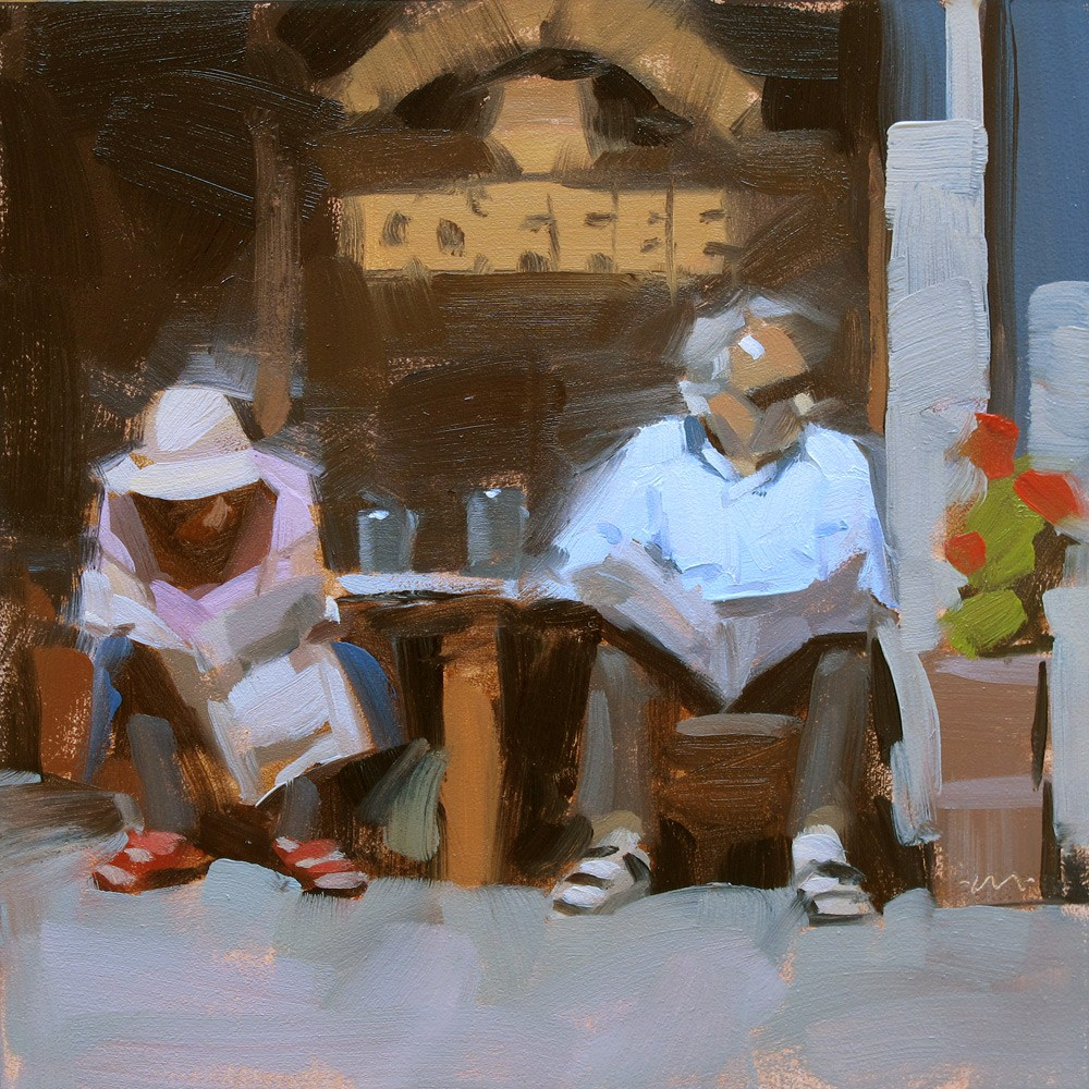 """Coffee Break"" original fine art by Carol Marine"