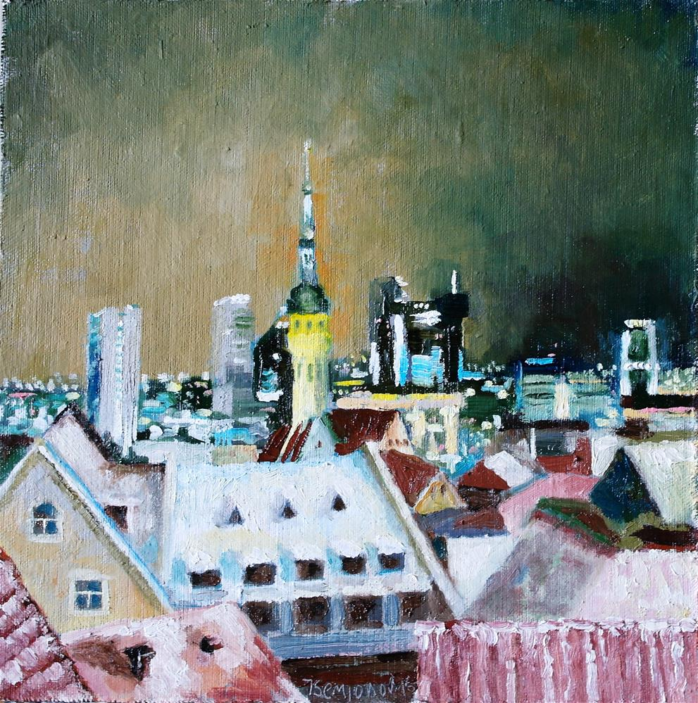 """night view Tallinn"" original fine art by Yuriy Semyonov"