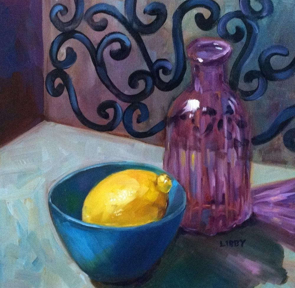 """Purple bottle and Lemon"" original fine art by Libby Anderson"