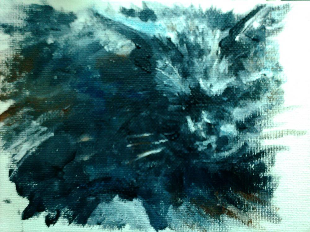 """cat on a lap"" original fine art by Kate Less-Madsen"