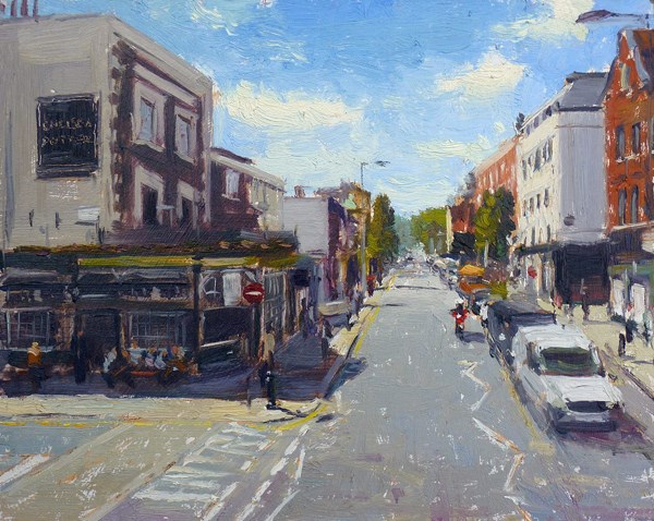 """Summer light Kings Road, Chelsea Potter"" original fine art by Adebanji Alade"