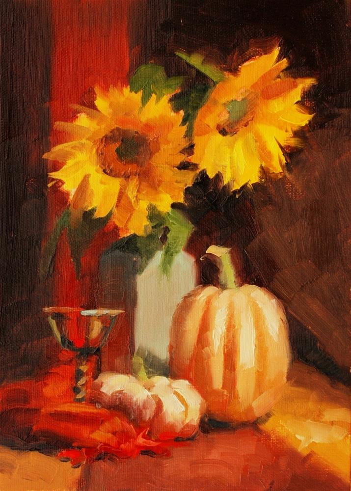 """No. 654 Pumkins with Sunflowers"" original fine art by Susan McManamen"