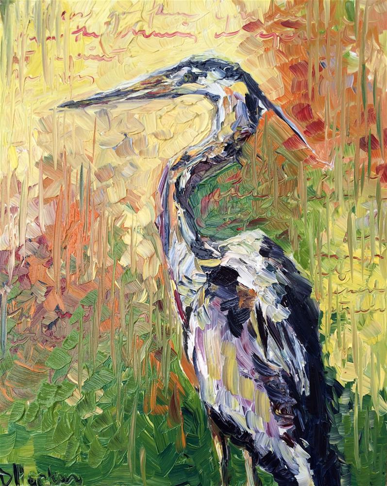 """Heron 2"" original fine art by Denise Hopkins"