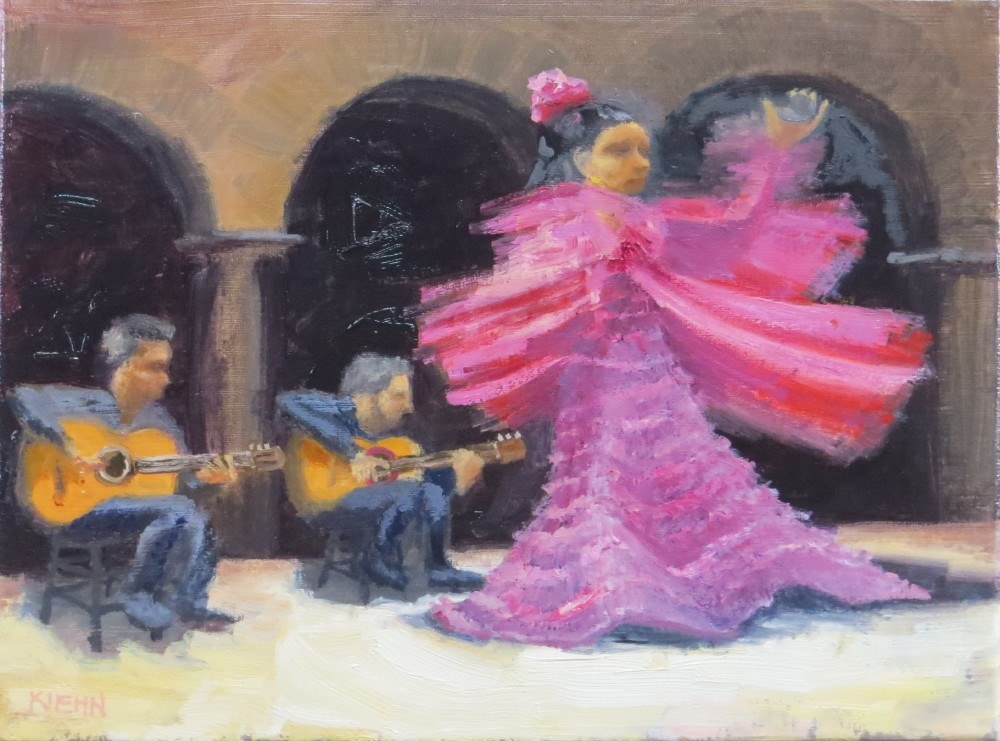 """Swirling Flamenco Dancer"" original fine art by Richard Kiehn"