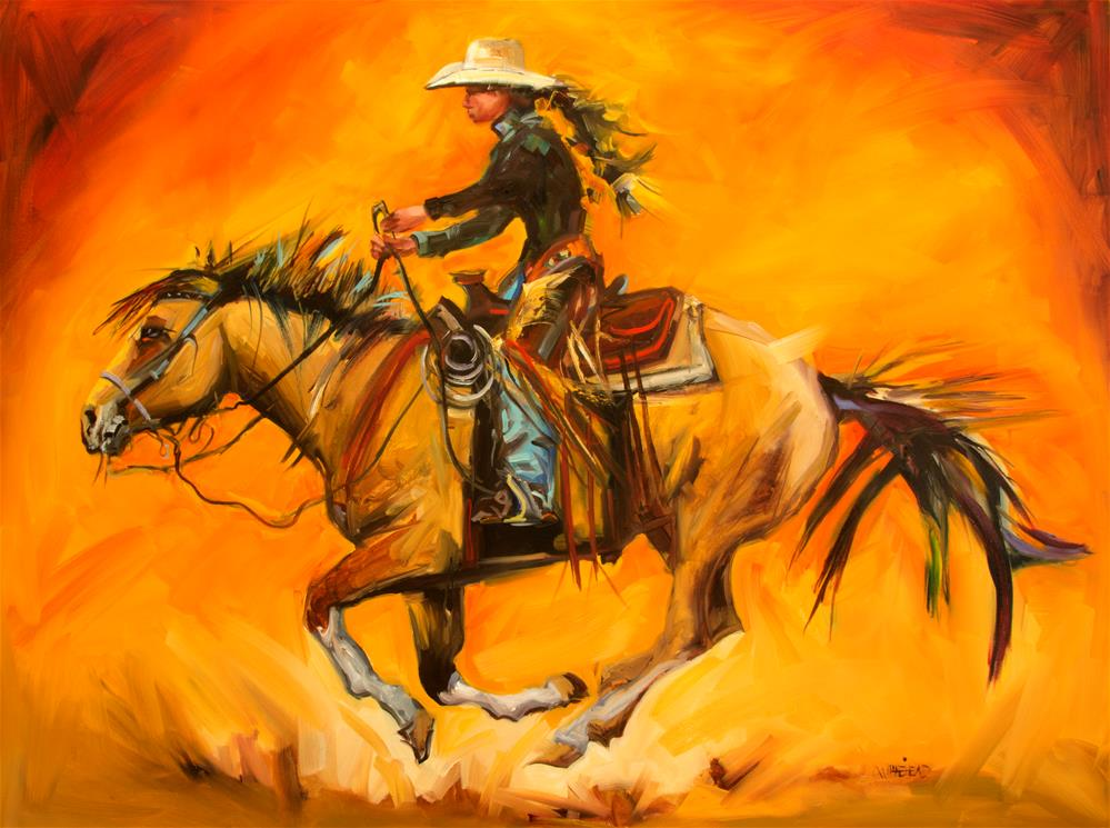 """Cowgirl Ride"" original fine art by Diane Whitehead"