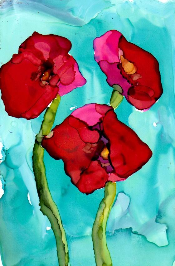 """Poppy Trio"" original fine art by Kristen Dukat"