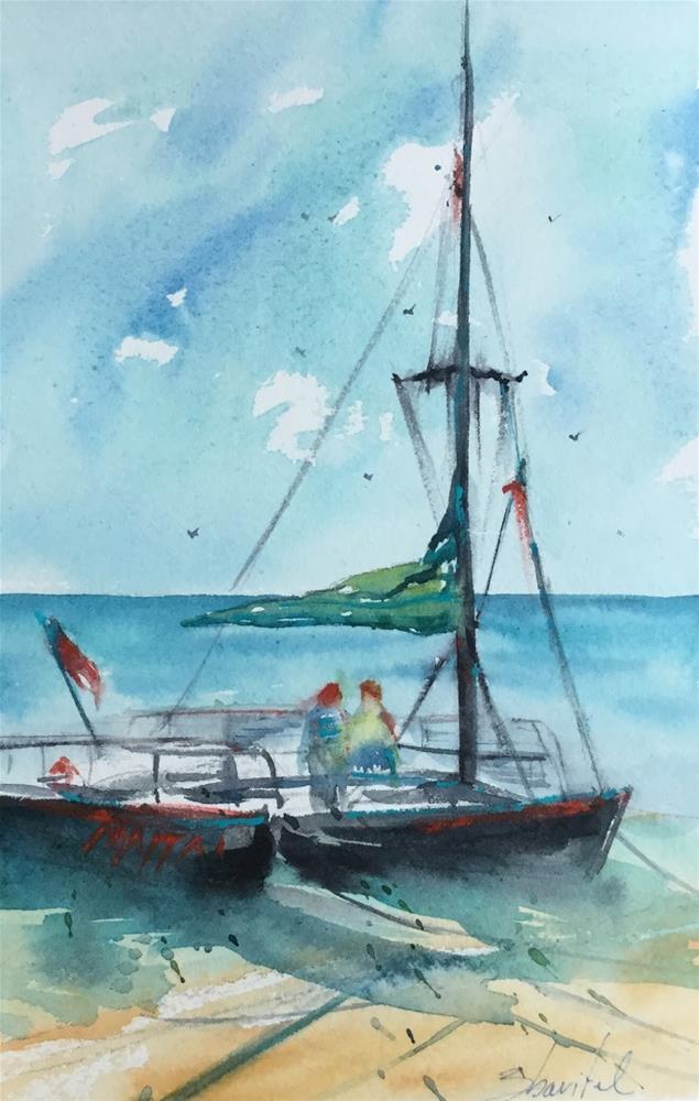 """6x10, watercolor on paper, price $200, Contemporary Sailboat painting, Honolulu Catamaran, North"" original fine art by Carolyn Zbavitel"