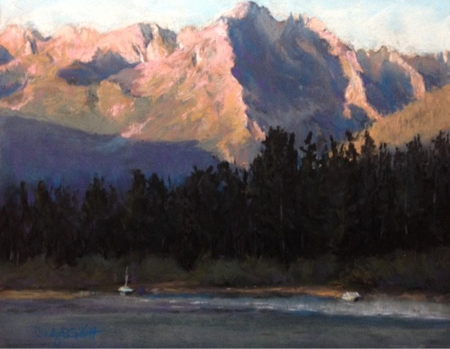 """Sunrise Over Redfish Lake"" original fine art by Cindy Gillett"