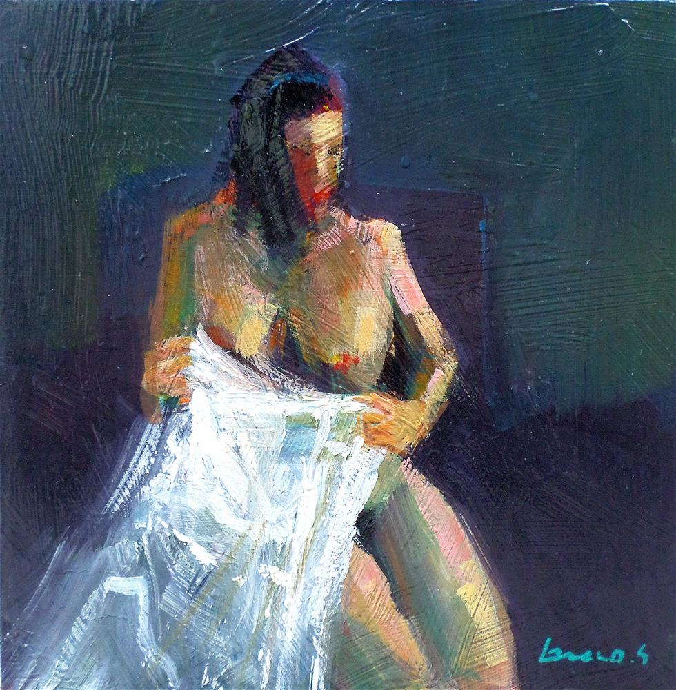 """Naked in white cloth"" original fine art by salvatore greco"