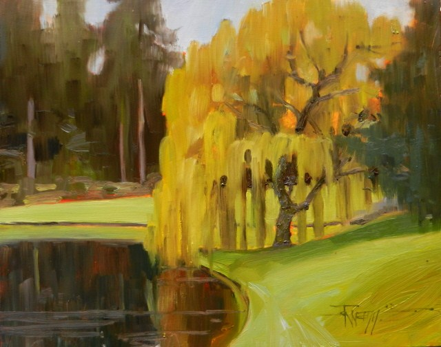 """Weeping Willow and Water plein air, oil landscape painting by Robin Weiss"" original fine art by Robin Weiss"