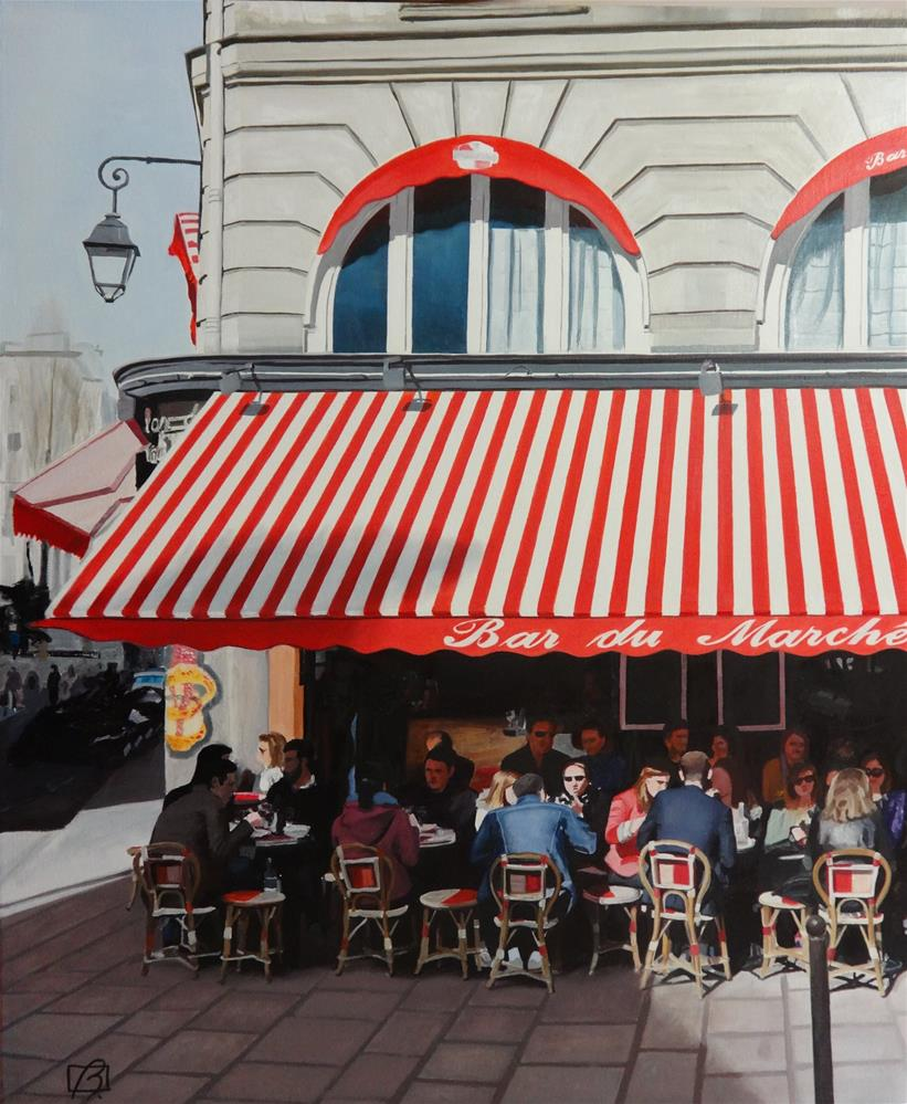"""Café Bar du Marché"" original fine art by Andre Beaulieu"