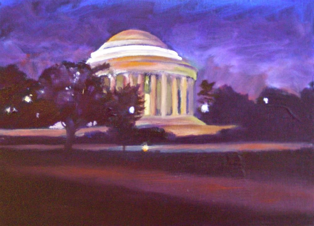 """Jefferson Memorial, 7x5 Oil on Canvas Panel"" original fine art by Carmen Beecher"