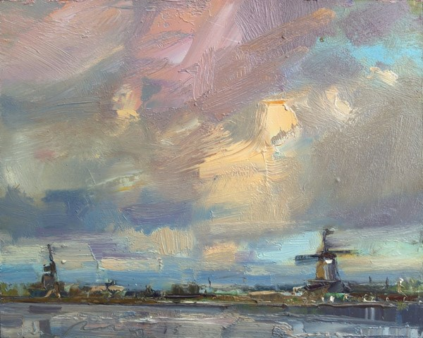 """Painting Zaandam Windmills in Evening"" original fine art by Roos Schuring"