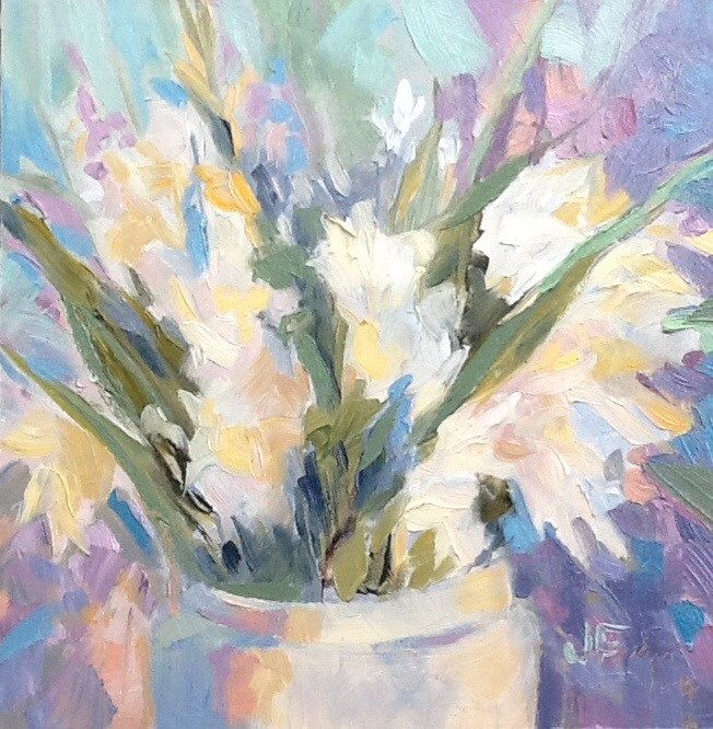 """White Boquet"" original fine art by Jean Fitzgerald"
