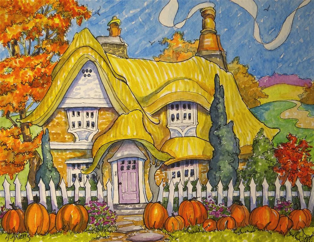 """""""Thirteen Little Pumpkins all in a Row Storybook Cottage Series"""" original fine art by Alida Akers"""