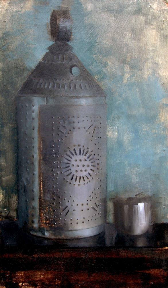 """Punched Tin Lantern and Metal Cup (no.93)"" original fine art by Michael William"