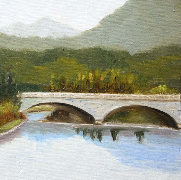 """Bridge Near Hongcun"" original fine art by Jane Frederick"