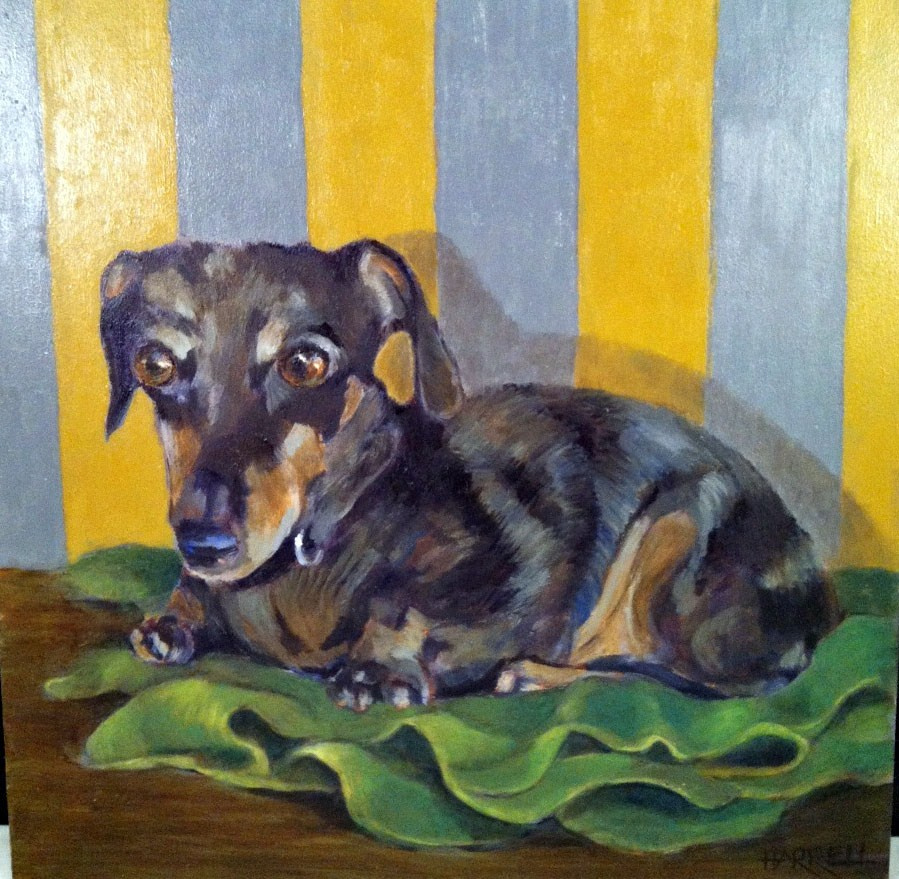 """""""Jeff's Green Blanket"""" original fine art by Sue Harrell"""