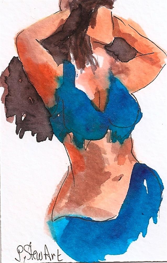 """ACEO Bellydancer #17, Loose Style Watercolor and Pen, Peacock Blue Costume"" original fine art by Penny Lee StewArt"