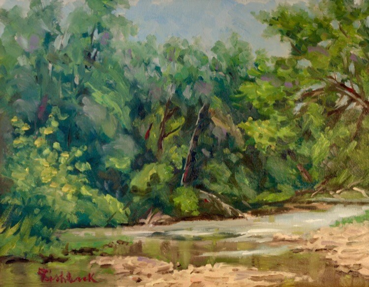 """Lazy River en Plein air"" original fine art by Daniel Fishback"