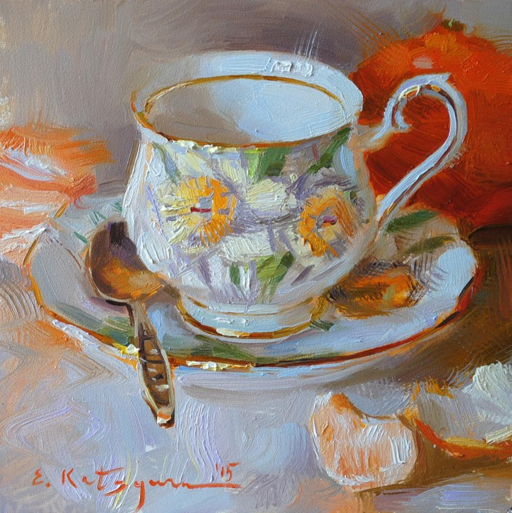 """Daffodil Cup and Citrus"" original fine art by Elena Katsyura"