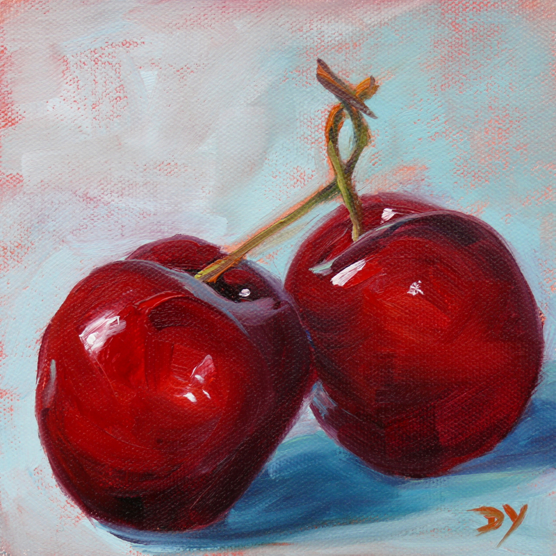 """A Kiss, oil on canvas board, 6x6"" original fine art by Darlene Young"