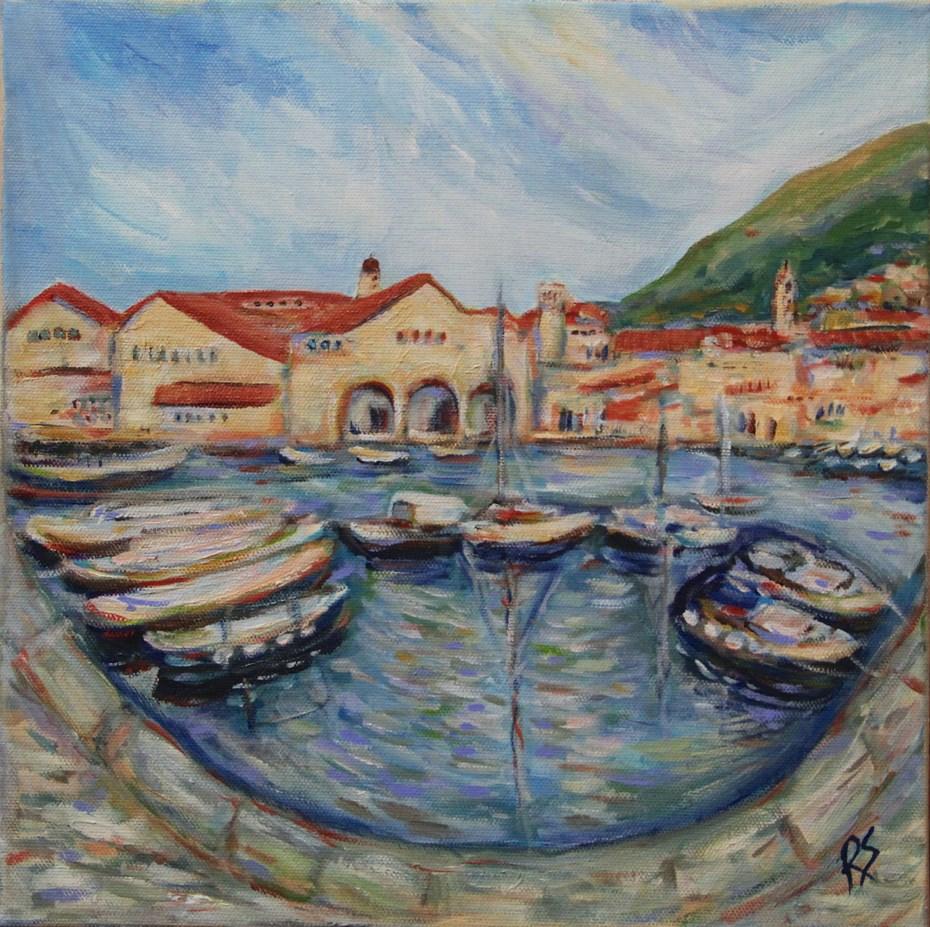 """""""Dubrovnik Harbour"""" original fine art by Roberta Schmidt"""