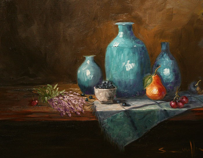 """Lavender and Turquoise"" original fine art by Sunny Williams"