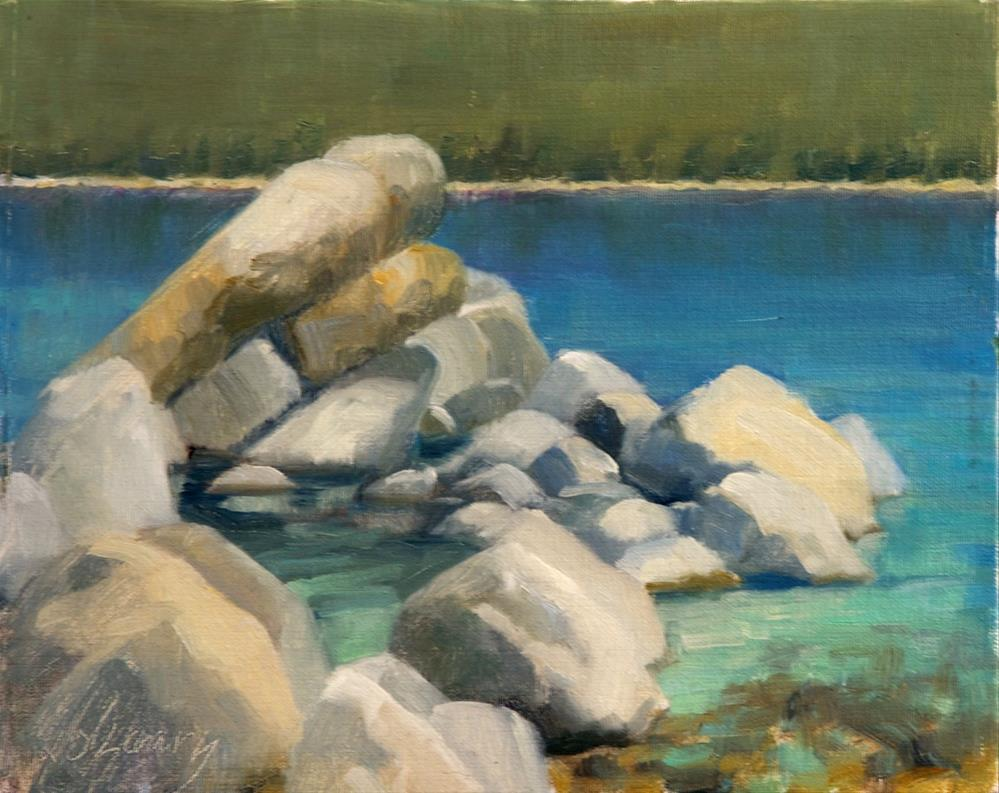 """Sand Harbor Rocks"" original fine art by Kathy O'Leary"