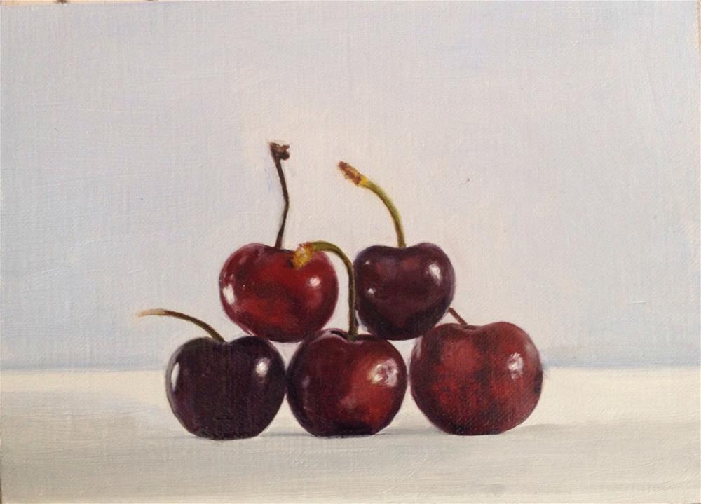 """""""Five Cherries"""" original fine art by James Coates"""