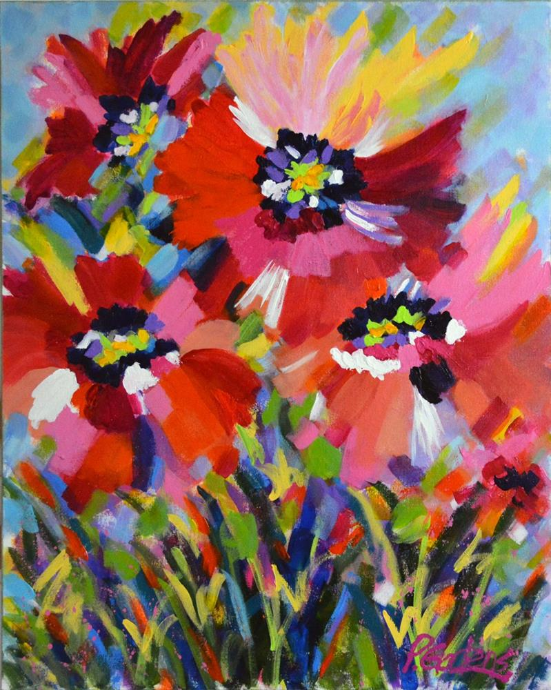 """Pink and Red Poppies"" original fine art by Pamela Gatens"