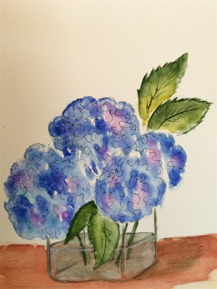 """Hydrangea #3 watercolor/ ink 9 x 6"" original fine art by Nancy Beard"