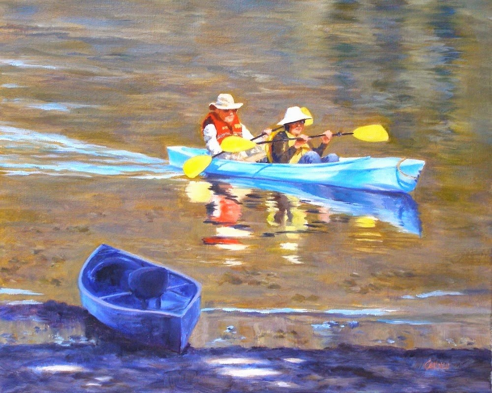 """The Kayakers, 16x20 Original Oil Painting on Canvas"" original fine art by Carmen Beecher"