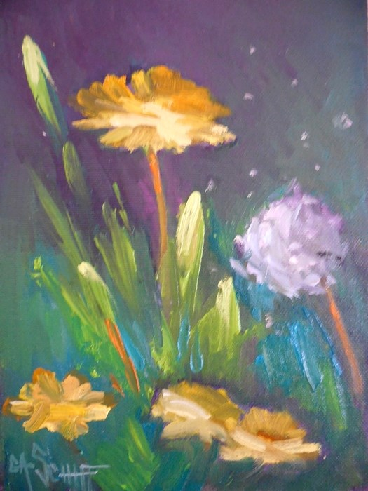 """Dandelion Painting, Daily Painting, Small Oil Painting, Blowing in the Breeze, 6x8 Oil"" original fine art by Carol Schiff"