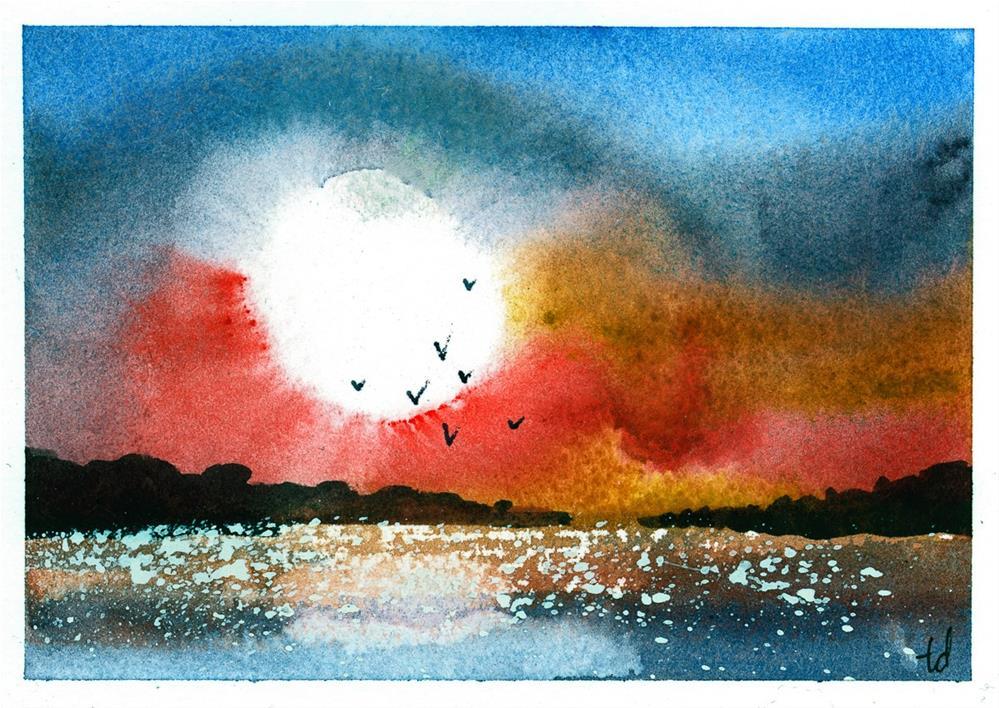 """Orange Sunset"" original fine art by Tonya Doughty"