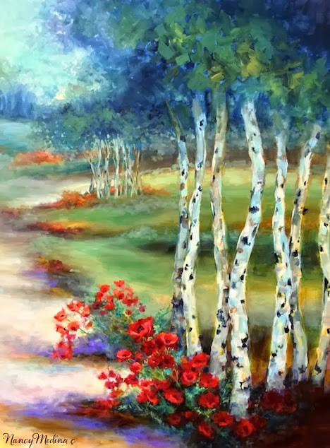 """SOLD ~ Day 26 ~ Mountain Retreat Aspen Path and a Dallas Arboretum Workshop by Nancy Medina"" original fine art by Nancy Medina"