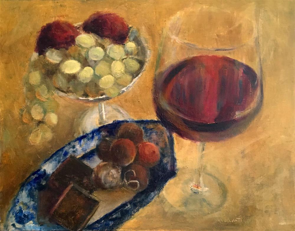 """""""Wine, Chocolates, and Fruit"""" original fine art by Sherri Burritt"""