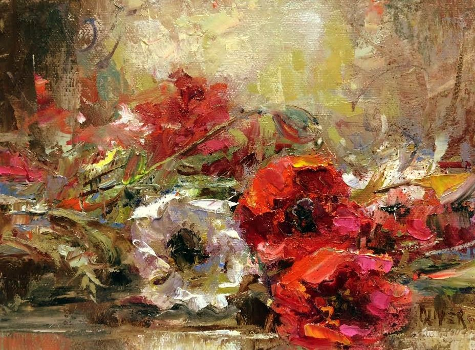 """Restingt Poppies"" original fine art by Julie Ford Oliver"
