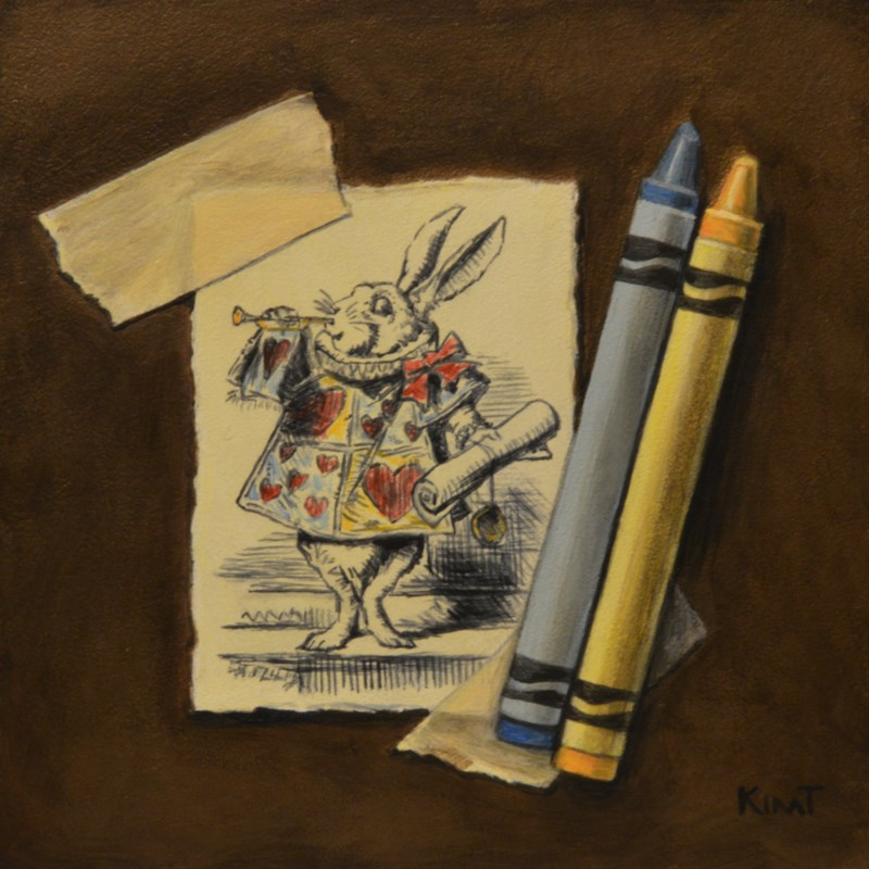 """Wonderland's White Rabbit with Crayons"" original fine art by Kim Testone"
