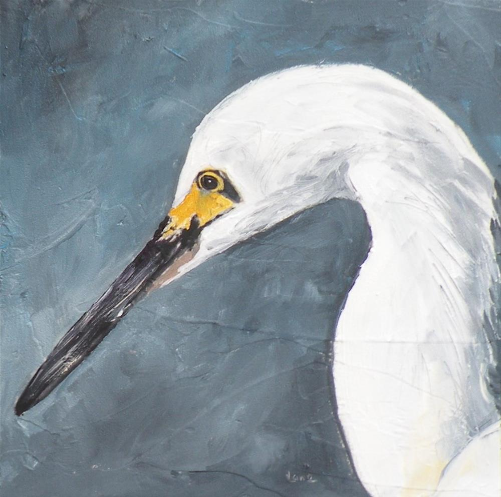 """Snow - an Egret"" original fine art by Saundra Lane Galloway"