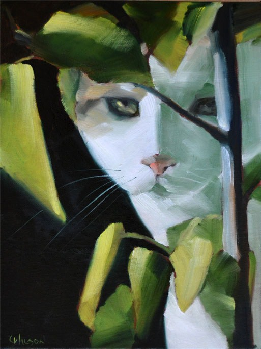 """Hibiscus Cat"" original fine art by Cheryl Wilson"