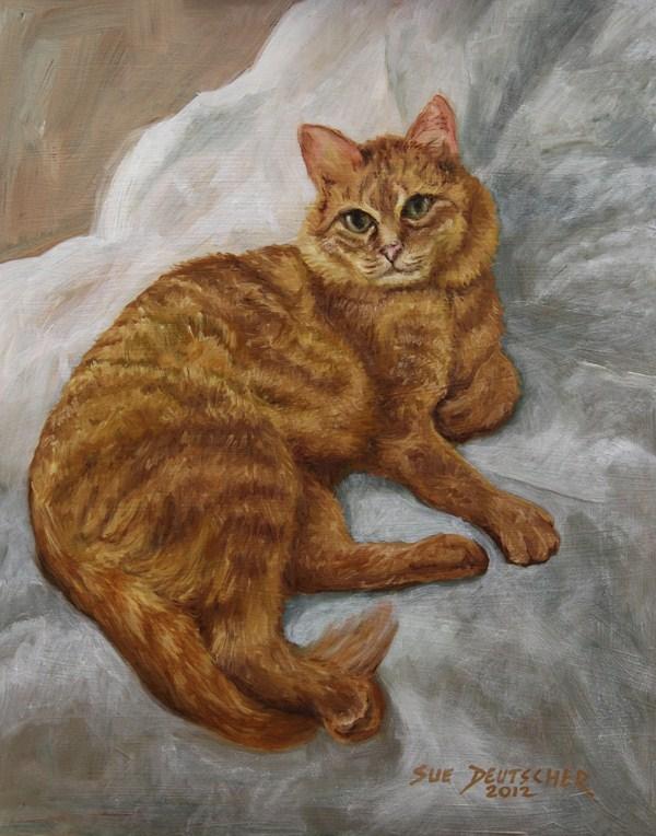 """""""Cat Portrait"""" original fine art by Sue Deutscher"""